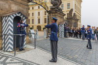 Prague Czech Republic - 19 October 2017: Changing of the guards in the Presidential Palace in Prague Castle