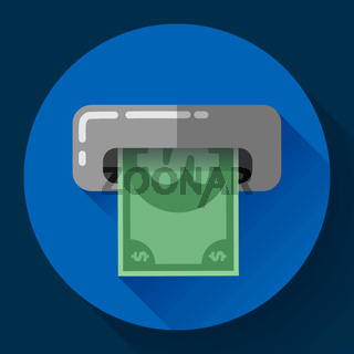 Getting money from an ATM bankomat card symbol icon. Flat design style.
