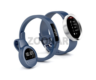 Activity trackers on white
