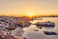 The sunrise in Kolymbithres of Paros, Greece