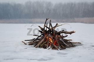 Campfire in winter