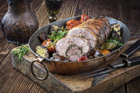 Rolled Lamb Roast with Barbecue Vegetable