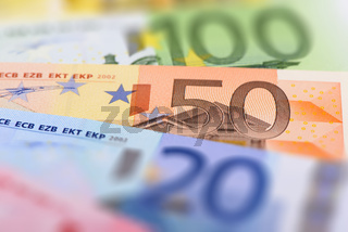 many banknotes of European currency