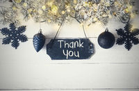 Black Christmas Plate, Fairy Light, Text Thank You