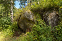Huge stones on terrenkur health trail along Belokurikha mountain river