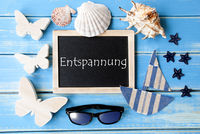 Blackboard With Maritime Decoration, Entspannung Means Relax