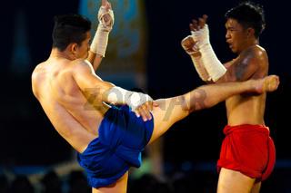 Muay Thai Kickboxer Kicking Traditional Exhibition