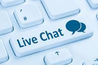 Live Chat Kontakt Kommunikation Service Internet blau Computer Tastatur