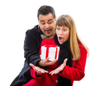 Mixed Race Couple Exchanging Christmas Gift Isolated on White