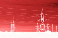 Pylon high voltage power line. Large towers of metal structures with electric wires. Computer post-processing.