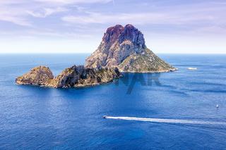 Es Vedra Felsen Insel Ibiza Spanien Reise Meer Boot Mittelmeer Urlaub
