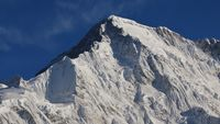 Peak of mount Cho Oyu, high mountain in the Himalayas. View from Gokyo, Nepal.