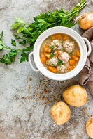 Buckwheat soup with meatballs