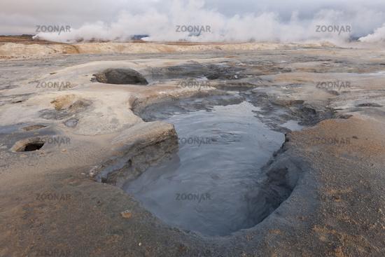 Island, Heißer Schlammtopf bei Hverarönd