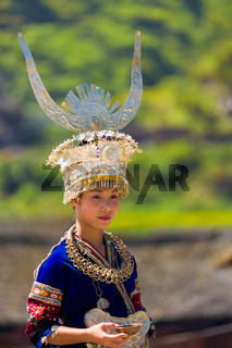 Xijiang Miao Woman Traditional Clothes Headdress