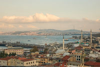 Aerial view of the golden horn and the galata bridge