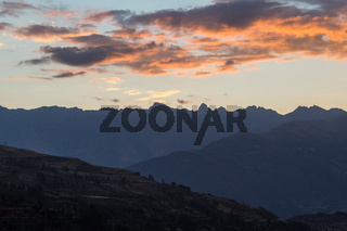 Mountain silhouettes during sunset