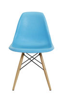 Front view of blue plastic chair