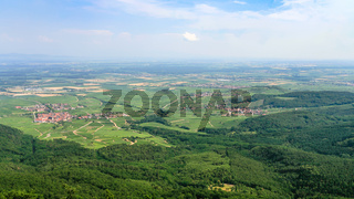 above view of villages in Alsace from Vosges