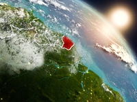 French Guiana from space during sunrise