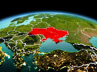 Ukraine on planet Earth in space