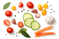 Fresh Vegetables and Spices Isolated on White Background