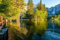 Merced River and Yosemite Falls landscape