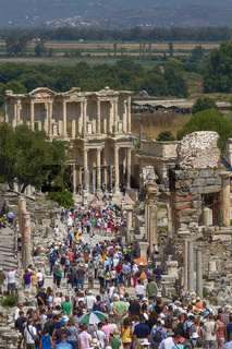 People Visiting and Enjoying Ancient Celsius Library in Ephesus Turkey