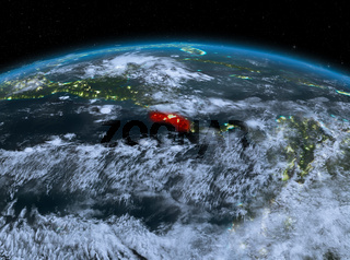 Costa Rica from space at night