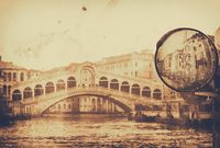 Vintage postcard with architecture on grungy paper