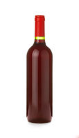 One full bottle of red wine isolated on white