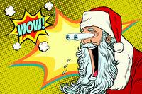 Bulging eyes Hyper reaction to Santa Claus
