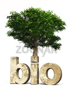 3D Schrift BIO mit Baum