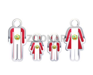 Glossy metal badge icon in man, woman and childrens shapes with Peru flag, infographic element on white