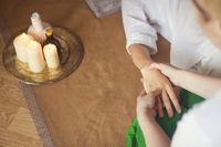 Hand massage at spa