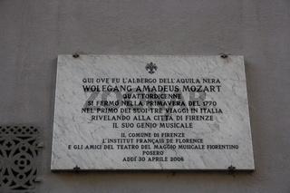 Florenz, Schild Mozart in Florenz