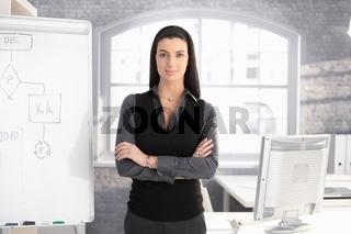 Pretty businesswoman at whiteboard
