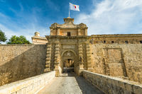 Fortified gate to Mdina,Silent City in Malta