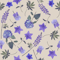 seamless   pattern of blue flowers