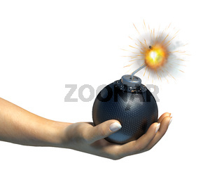 Human hand holding a bomb with burning fuse, on white background.