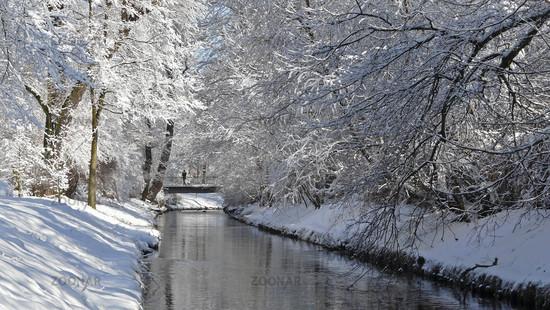 Die Panke in Berlin im Winter