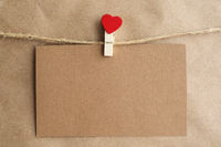 Valentines Card on pin with heart