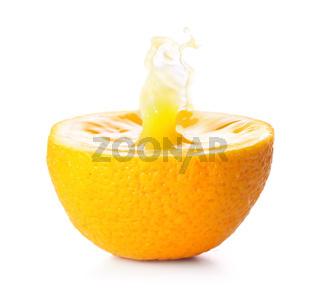 splash in fresh orange, isolated on white