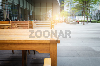 Wooden table in the outdoor coffee room