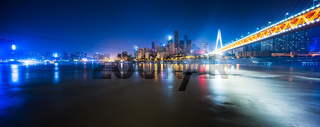 modern bridge in chongqing new city at night