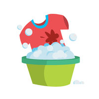 T-shirt in a basin with soapy water is washed by hands.
