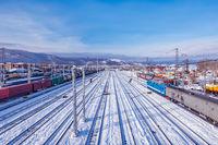 Winter view of Sludanka station. Trans Siberian railway. Russia.