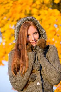Autumn sunset park - red hair woman fashion