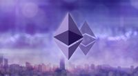Ethereum and Ethereum classic icons on the blurred ultraviolet background of a modern city