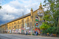 One of the Christiania house painted graffiti in Copengagen.